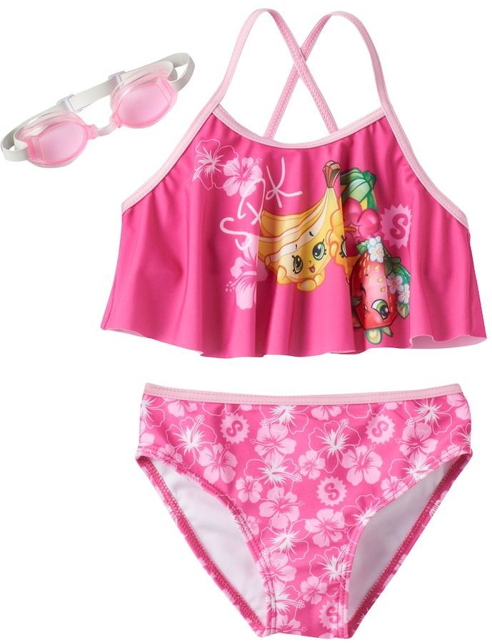 On sale $12.00 Featuring tropical flowers, Buncho Bananas and Strawberry Kiss, this girls' Shopkins bikini swimsuit set brings a tropical feel to the pool party. Afflink.