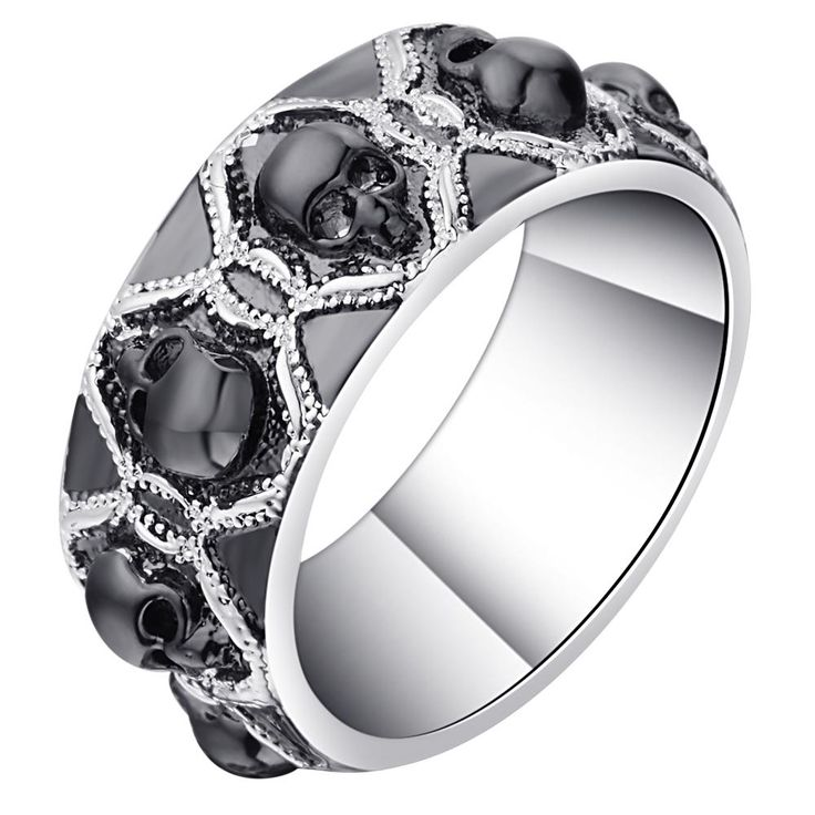 retro black evil skull rings for men women silver color vintage cz gothic skeleton design punk pave bands finger ring for party - Skull Wedding Rings For Men