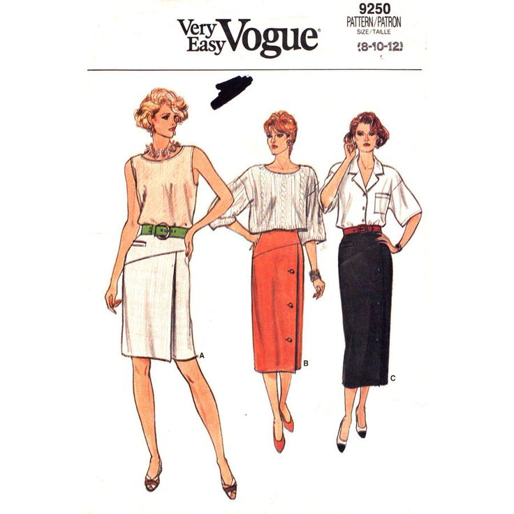 Womens Skirt Pattern Vogue 9250 Shaped Yoke Skirt Mock Welt Three Length Skirt Womens Sewing Pattern Size 8 10 12 Vintage UNCUT by finickypatternshop on Etsy https://www.etsy.com/listing/196873122/womens-skirt-pattern-vogue-9250-shaped