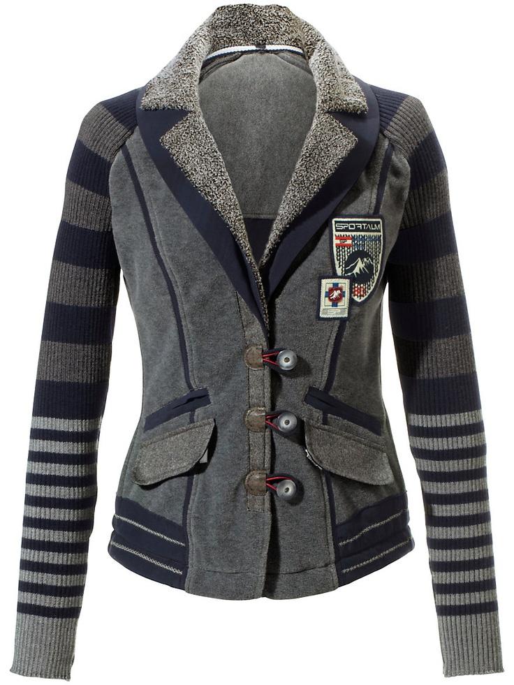 Blazer Sportalm Kitzbühel Janker Grau - pair it with Jeans, Heels & Feather Hat #Tracht #Trachtenmode #modern