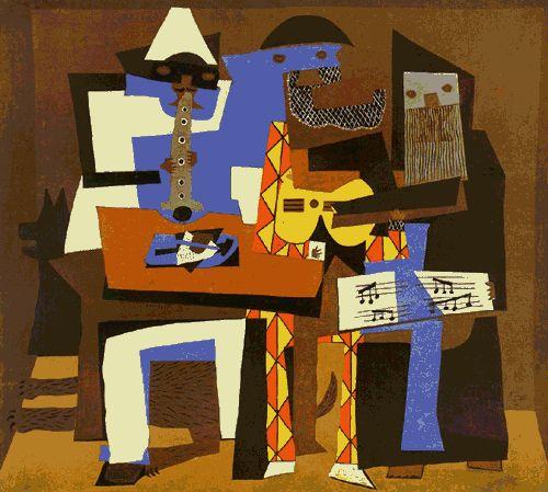 Pablo Picasso ~ Drei Musiker, 1921 Öl, Leinwand, Museum für moderne Kunst, New York/USA ~  gesehen bei: THE WORLD OF JAZZ  https://www.facebook.com/TheWorldOfJazz