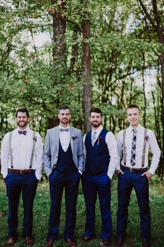 Groomsmen attire, mismatched groomsmen, navy suit, fall wedding, suspenders, bowties. Kevin + Sandy // married Photo By Kelly Maughan Photography