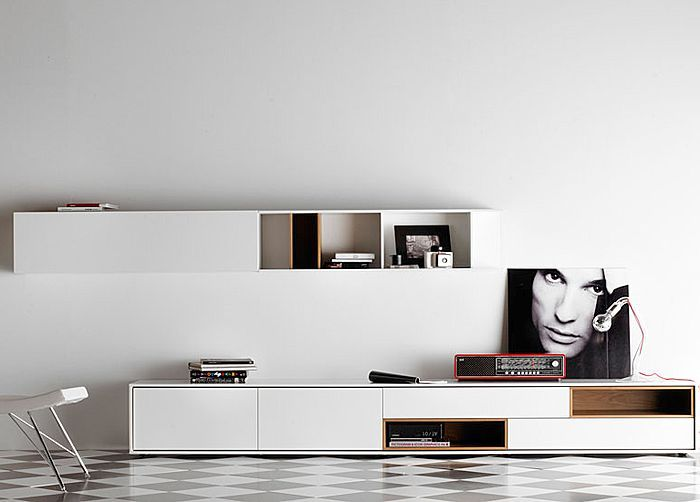 contemporary lacquered TV wall system AURA  TREKU