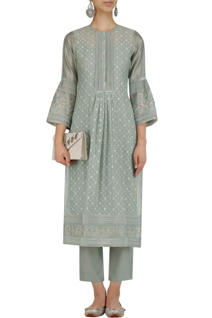 Blue handwoven banarasi cotton kurta and pants set available only at Pernia's Pop Up Shop.