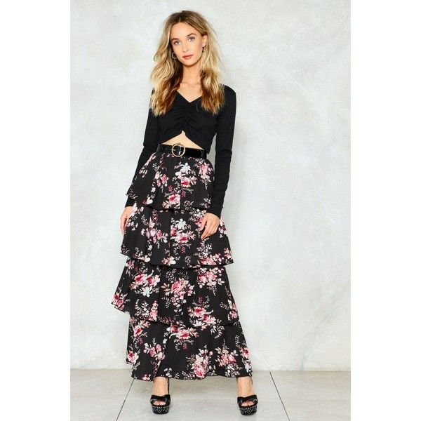 Nasty Gal Let the Tiers Fall Floral Maxi Skirt ($60) ❤ liked on Polyvore featuring skirts, black, long tiered skirt, tiered maxi skirt, ruffle skirt, floral skirts and floral print skirt