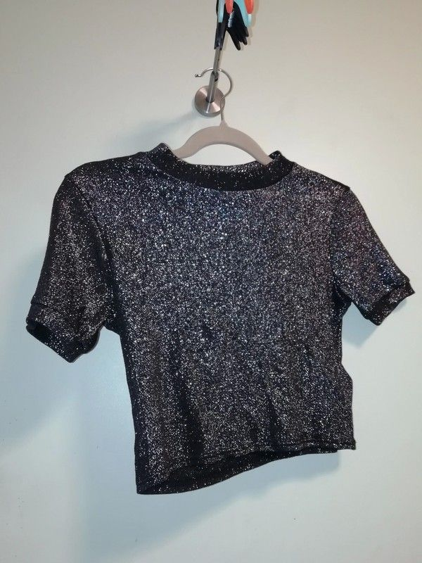 86eb761cbb9a6b Metallic Topshop Crop Top Size UK 8 in 2019   Rebellion Rd.   Pinterest    Silver sequin, Crop tops and Turtle neck