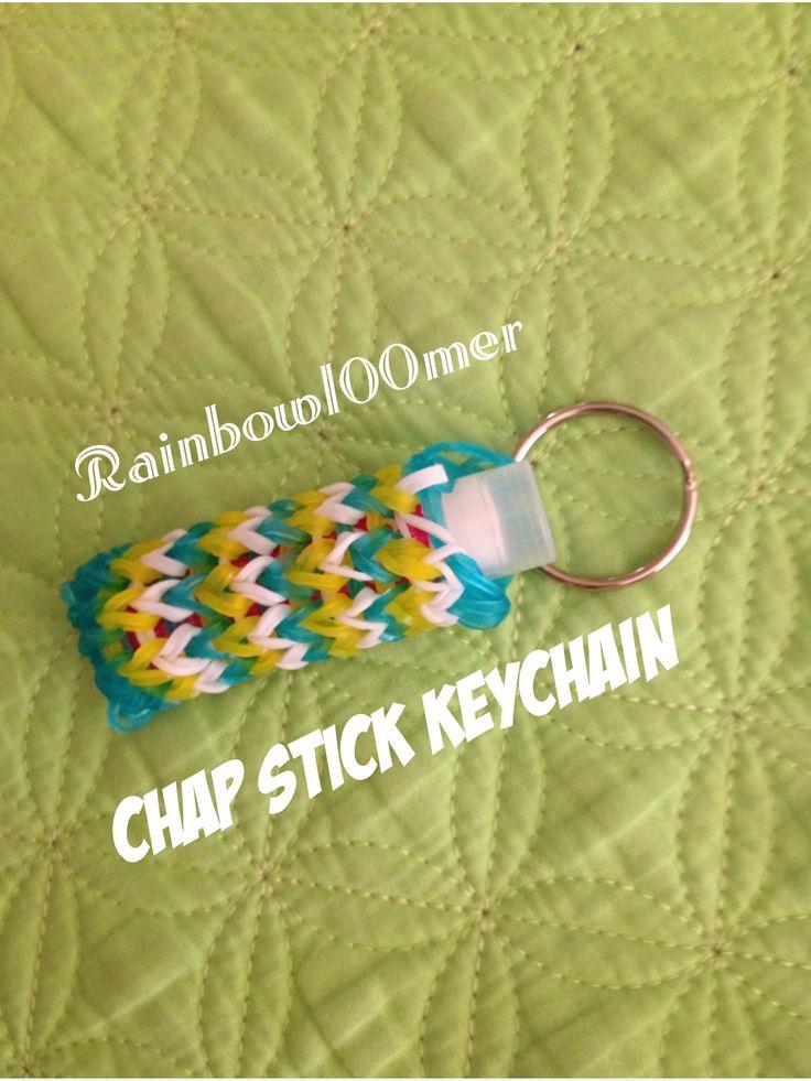 Rainbow loom Chapstick keychain cover!