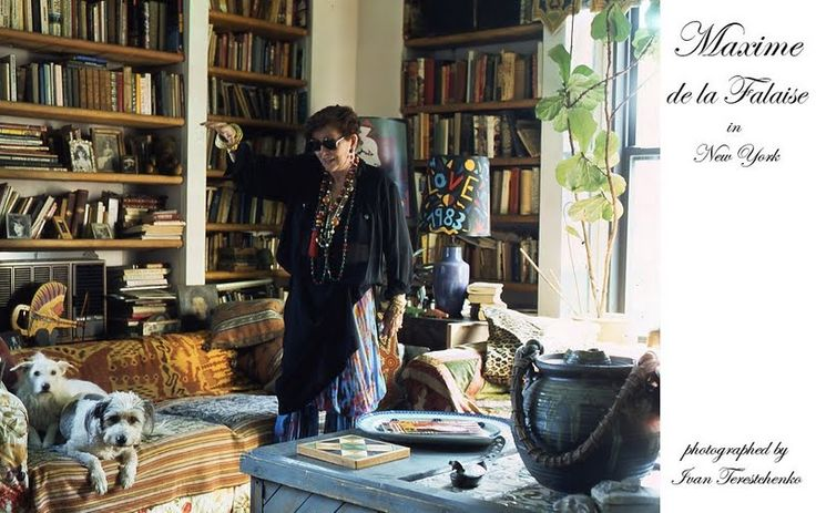 The late, inimitable, Maxime de la Falaise's loft in NYC which she sold in the 1990's. She edited her home as she edited her clothing and accessories. Elegant, bohemian, tribal.
