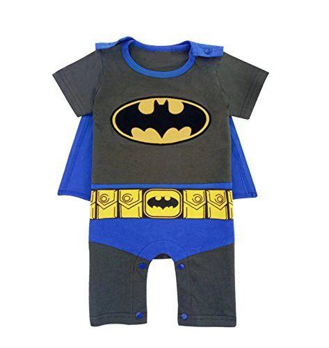 Kiddomania Baby Toddler Boy/ Girl Superhero Bodysuit Romper Onesie Costume (70 (0-6 Months), Batman)
