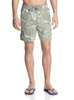 69% OFF Reyn Spooner Men's Limu Forest Elastic Swim Trunk (Seafoam)