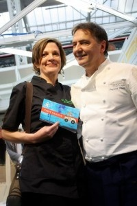 Pictured Maggie Lynch and Raymond Blanc at the Organic and Natural products Show in London 2013