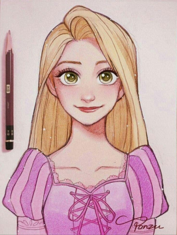 Rapunzel With Her Blond Hair Blond Rapunzel Disney Drawings Sketches Disney Art Drawings Disney Princess Drawings