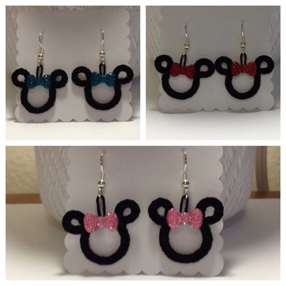 Minnie Mouse Inspired Dangle Tatted Earrings by HookandNeedleCafe, $13.00
