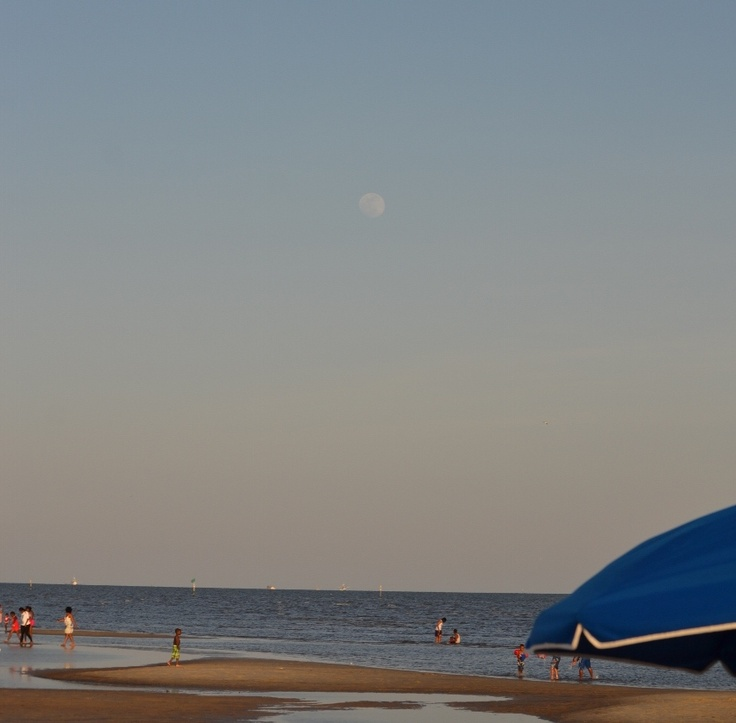 Moon coming up over beach in Biloxi.