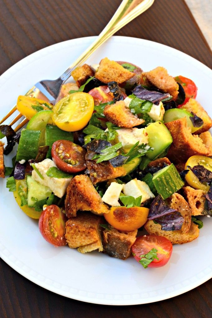 How to make panzanella, Italian bread and tomato salad. Easy recipe! Do ahead! Summer eating at its best.