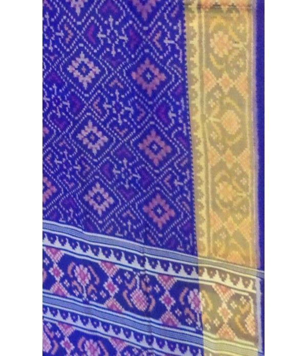 Blue Rajkot Patola Ikat Silk Saree with Zari Border