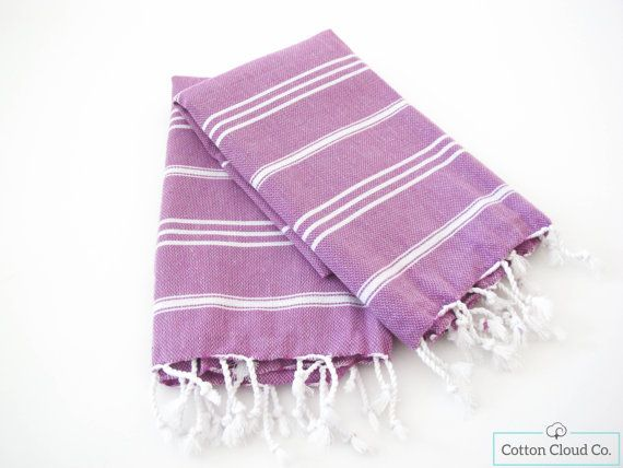 SALE %40 Eco Friendly Turkish Towel Classic Lavender Purple Hand Towel | Head Towel | Kitchen Towel | Tea Towel | Kids Towel  | SET OF 2