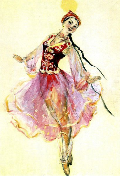 """The sketch of Nazym's costume for the """"Kambar and Nazym"""" ballet"""