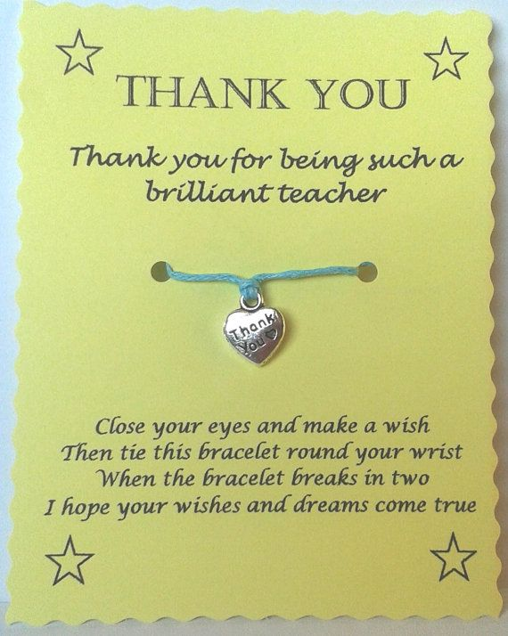 Teacher Wish Bracelet Thank you Card Teacher gift by GemsNJewells