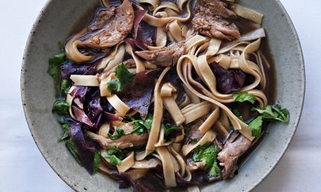 Nigel Slater's duck with udon noodles recipe is the ideal comfort food for a rainy Friday night.