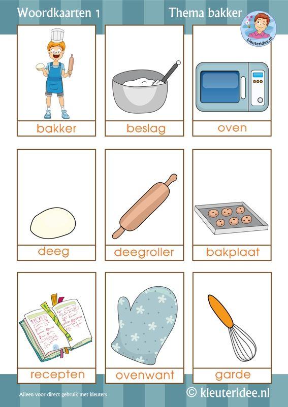 Woordkaarten thema bakker voor kleuters 1, by juf Petra van kleuteridee, free printable