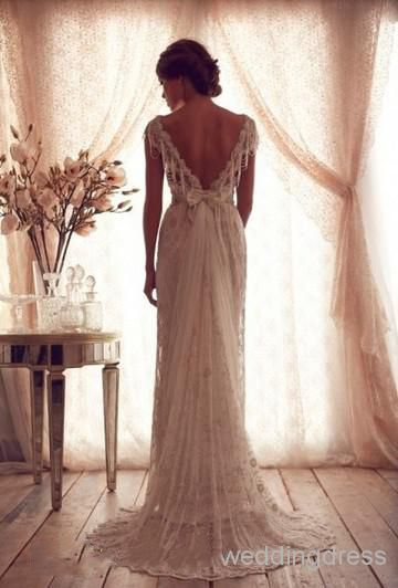 Best Selller Cheap Backless Beach Beads Capped Sleeves Vintage Wedding Dresseson Sale With Price USD$ 245.99