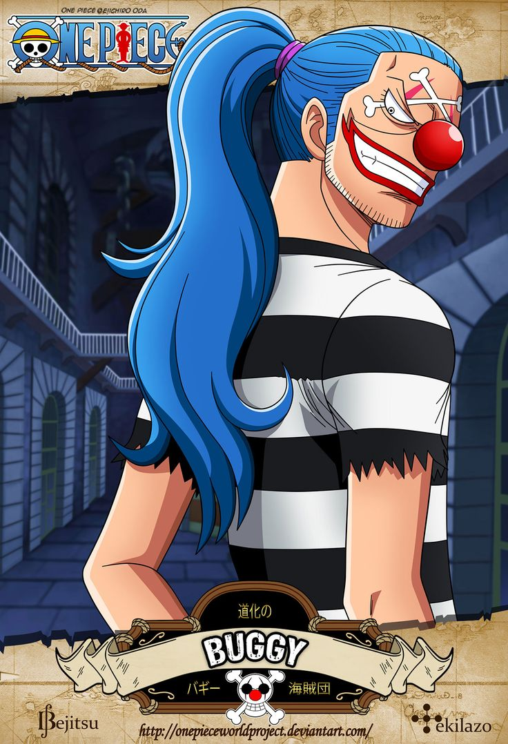 One Piece - Buggy el Payaso es el capitán de los Piratas de Buggy, actual Shichibukai y anteriormente aprendiz de los Piratas de Roger.  Fue el principal enemigo de los Sombrero de Paja en la Saga de Buggy el Payaso, y ha reaparecido muchas veces desde entonces. Tras su huida en Impel Down y lo sucedido en la Guerra de Marineford, su reputación ha ascendido rápidamente.