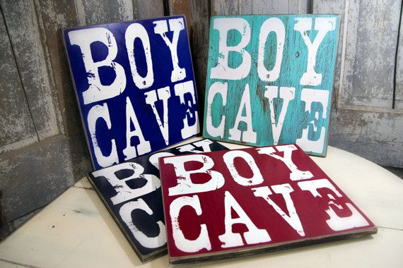 "A favorite in our BOY signs collection, Boy Cave is the perfect addition to your personalized home décor, nursery or Boys room collection. This sign makes the perfect baby shower or birthday gift. I also have a listing called ""FAQs and HOW To ORDER a Personalized sign from Madi Kay Designs that you may find helpful: https://www.etsy.com/listing/247305782/faqs-and-how-to-order-a-personalized?ref=shop_home_active_1  The following options are available for your sign:  PRINTED ON WOOD Each…"