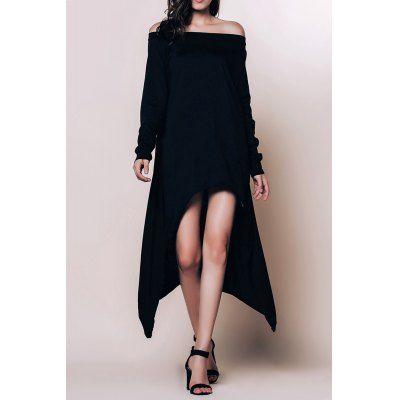 Повседневный перекоса шеи сплошного цвета с длинным рукавом Асимметричный платье для женщин-15.71 интернет-магазины | GearBest.com