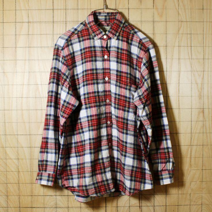 LLBean/USA製80s古着/ホワイト×レッドチェック柄/ボタンダウンネルシャツ/レディースL相当