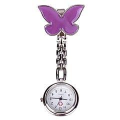 kvinders lilla butterfly nål spænde kæde design læge sygeplejerske lomme kvarts ur