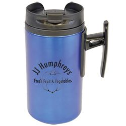 Mini Metal Travel Mug. Give a mini mug, make a big impact!   Compact, 250ml metal travel mug with an attractive handle. Choice of colours; each with a black plastic inner, handle and lid.   Screw top lid with a flip up cover over drinking spout.
