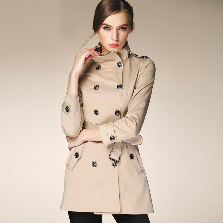 Famous Brand Burderry Trench Coat For Women Spring Autumn Double Breasted Medium Long overcoat women
