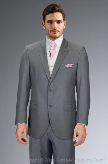 Slim fit grey suit, ivory waistcoat, light pink crevat, Debenhams
