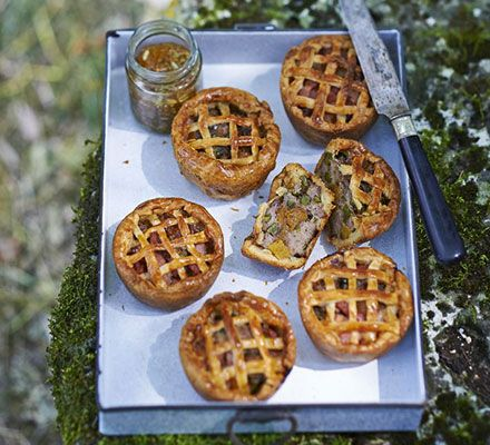 Individual puff pastry savoury pies best enjoyed alfresco. The filling has contrasting flavours and textures-  serve with your favourite pickle