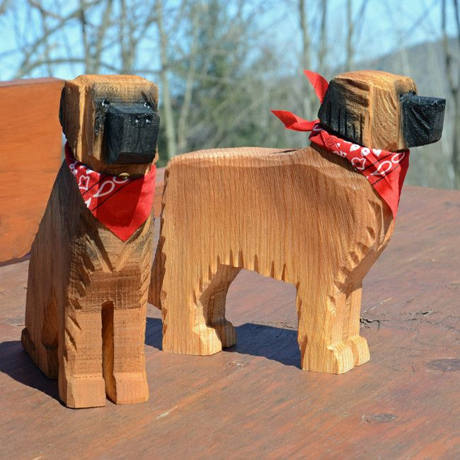 Leonberger wood carving folk art trees and natural