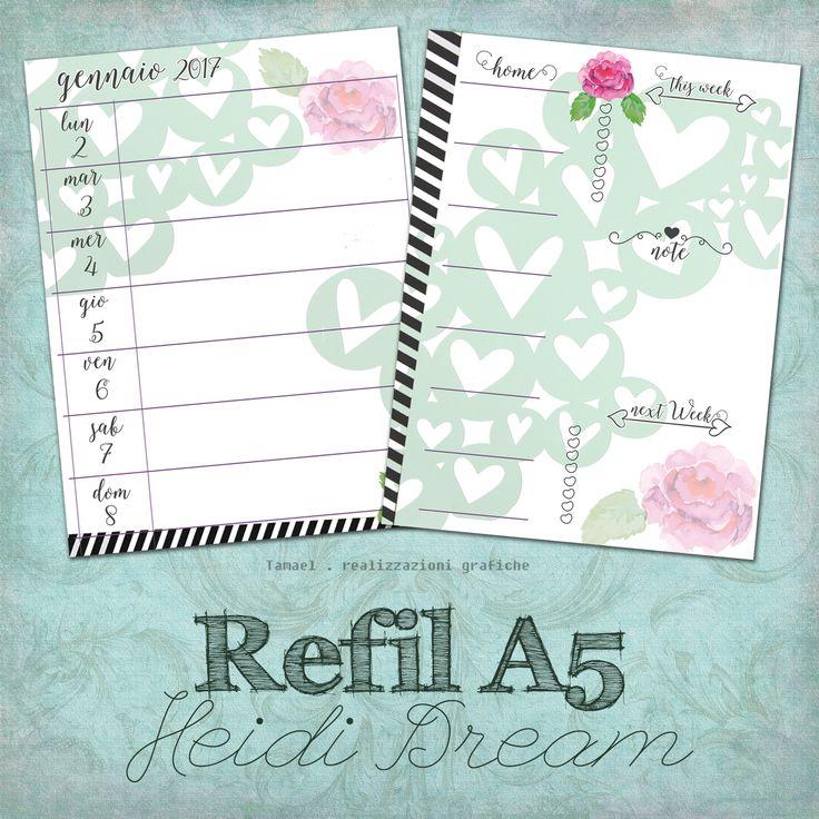 Nome: Heidi Dream Dimensione: A5 Tipologia: Settimana su 1 pagina con facciata di riepilogo per la settimana.