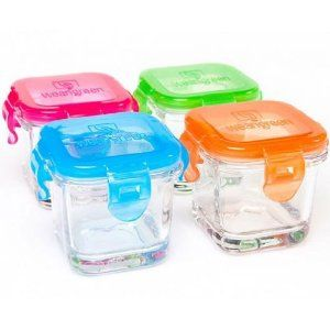 Glass containers specifically for homeade baby food.
