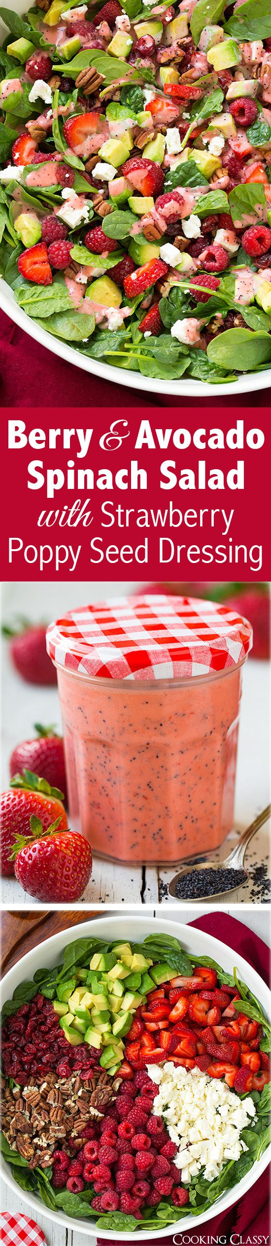 Red Berry & Avocado Spinach Salad with Strawberry Poppy Seed Dressing - this salad is AMAZING!!!