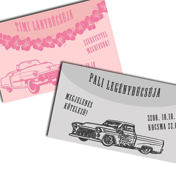 Vintage style bachelor & bachelorette party invitations about retro cars.