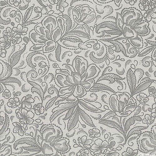 """Калла - Пионовый сад - туман серый - 108"""" лоскутное одеяло бэк"""