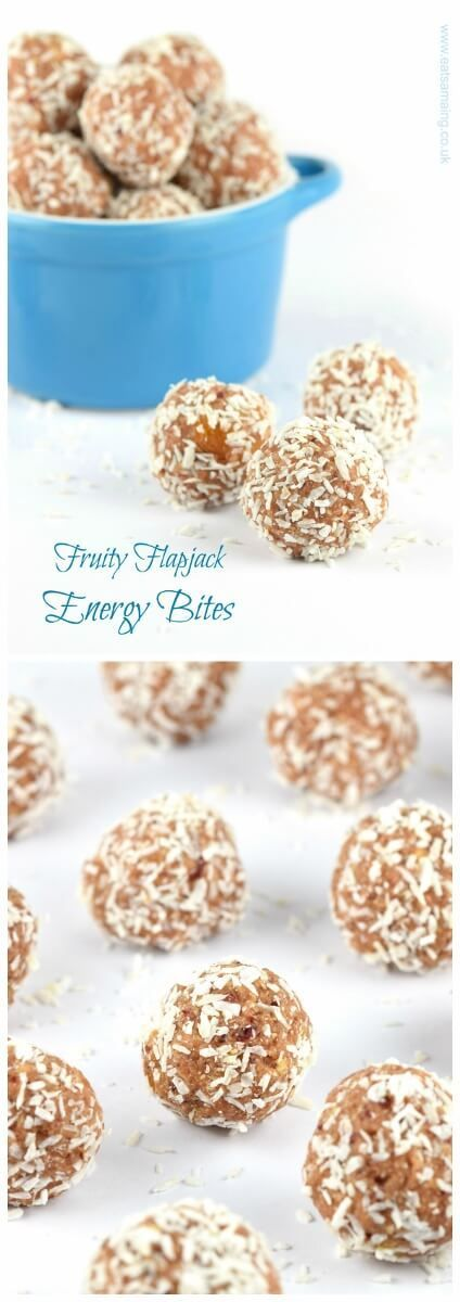 These delicious fruit flapjack homemade nut free energy balls are also dairy free gluten free and vegan - great healthy snack idea for kids from Eats Amazing UK