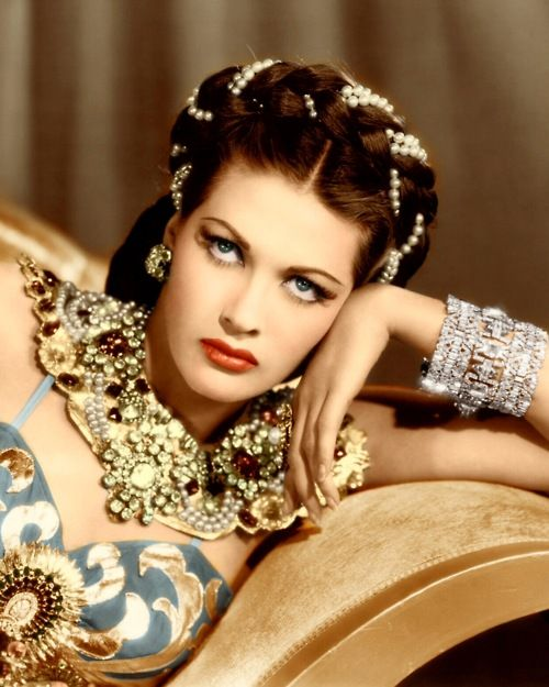 Yvonne De Carlo (1922-2007) was a Canadian-born American actress of film and television. During her six-decade career, her most frequent appearances in film came in the 1940s & 1950s The coveted part for this film, Scheherazade.