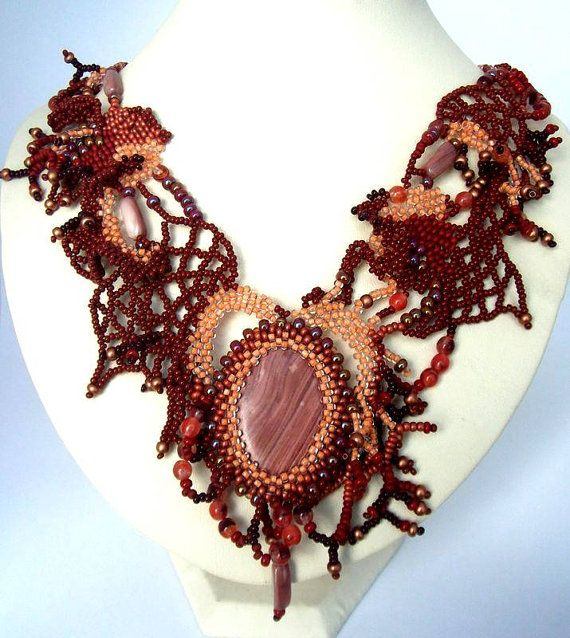 Beadwork necklace, Brown Beaded Art Necklace, Freeform peyote necklace, Seed bead, statement jewelry