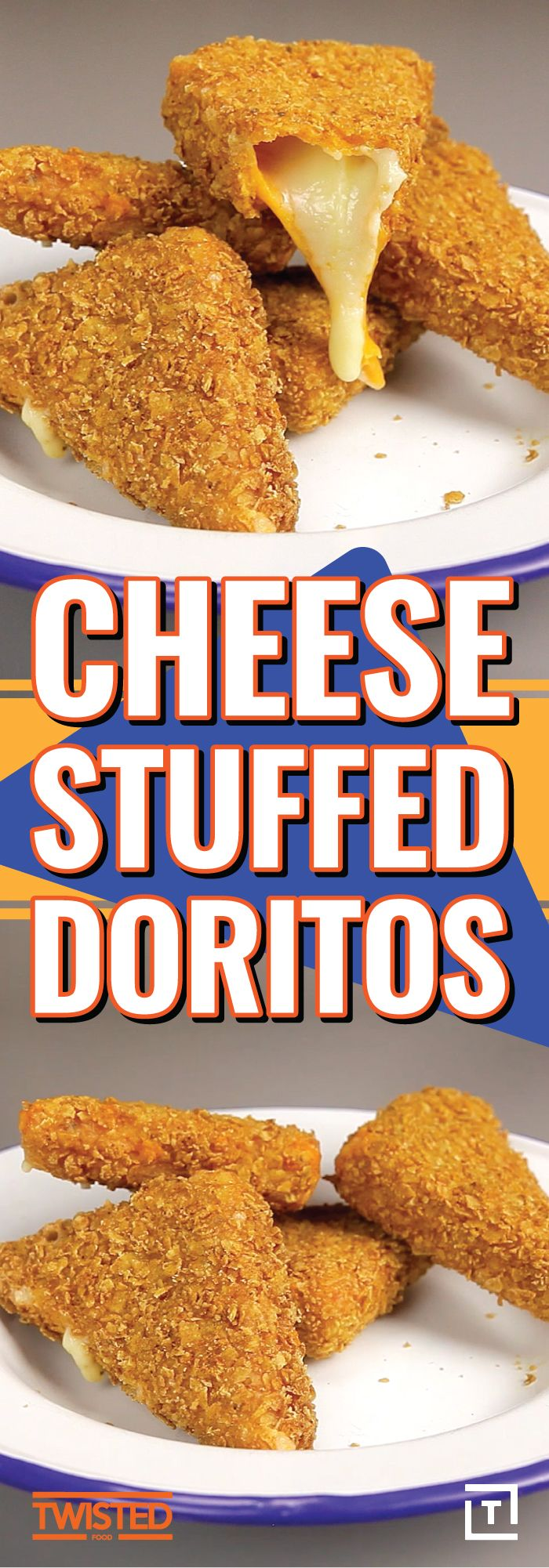 Upgrade your snacking the Twisted way, by coating 2 types of cheddar in your favorite flavor of crushed Doritos and frying them up to crispy, crunchy, cheesy perfection. Dip 'em in ketchup and hot sauce or have at 'em solo, either way you can't go wrong.