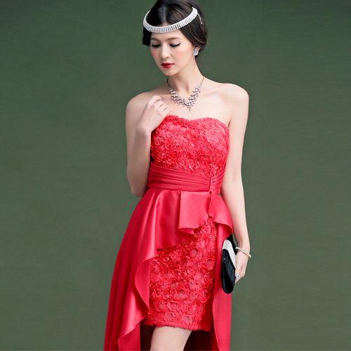 Передняя короткие длинные женщины вечернее платье 2015 сексуальных без бретелек красный / белый / черный / розовый ну вечеринку платья выпускного вечера халат Vestido де феста