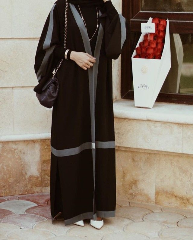 Chic black and grey paneled Abaya #Abaya Ojuju77