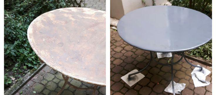 Kurze Anleitung zum entrosten und neu lackieren eines alten Tisches. Mit Bildern veranschaulicht.