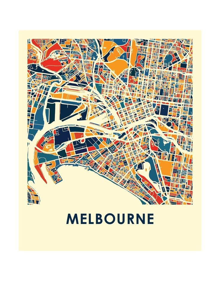 Our Melbourne map print features the stunning geography and street patterns of this great city. This complex and precise map print will fit stylish decor for both home and office. The Melbourne map is