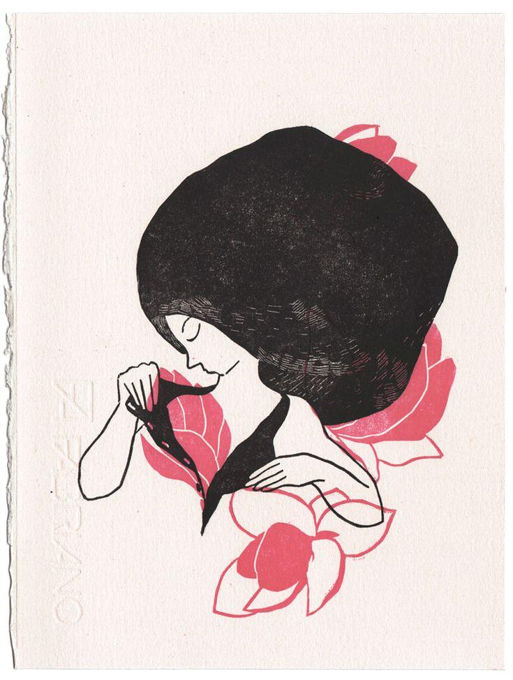 3 nouvelles linogravures d'Evelyne Mary en boutique ! Linogravures réalisées par Evelyne Mary De haut en bas : Printemps, Sabre, et Maternité 30 exemplaires de chaque Signées et numérotées 18 x 24 cm 40€